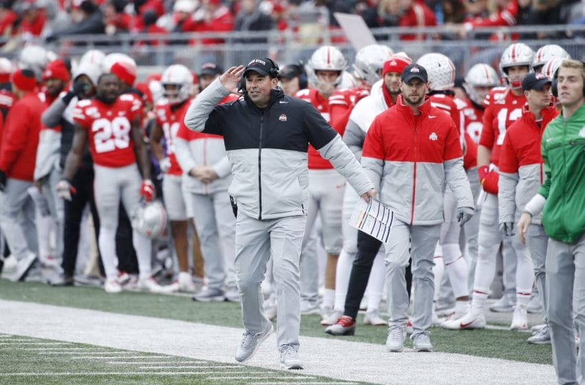 COLUMBUS, OH - NOVEMBER 09: Ohio State Buckeyes head coach Ryan Day reacts from the sideline during a game against the Maryland Terrapins at Ohio Stadium on November 9, 2019 in Columbus, Ohio. Ohio State defeated Maryland 73-14. (Photo by Joe Robbins/Getty Images)