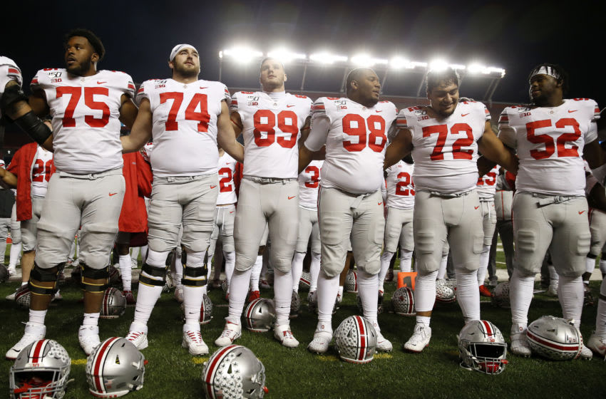 PISCATAWAY, NEW JERSEY - NOVEMBER 16: The Ohio State Buckeyes sing their school song to their fans after the game against the Rutgers Scarlet Knights at SHI Stadium on November 16, 2019 in Piscataway, New Jersey.The Ohio State Buckeyes defeated the Rutgers Scarlet Knights 56-21. (Photo by Elsa/Getty Images)