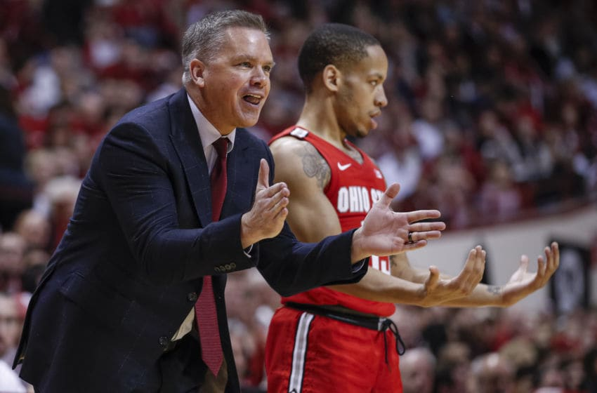BLOOMINGTON, IN - JANUARY 11: Head coach Chris Holtmann of the Ohio State Buckeyes and CJ Walker #13 of the Ohio State Buckeyes are seen during the second half against the Indiana Hoosiers at Assembly Hall on January 11, 2020 in Bloomington, Indiana. (Photo by Michael Hickey/Getty Images)