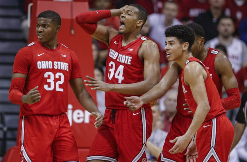 BLOOMINGTON, IN - JANUARY 11: Members of the Ohio State Buckeyes react to a foul call during the second half against the Indiana Hoosiers at Assembly Hall on January 11, 2020 in Bloomington, Indiana. (Photo by Michael Hickey/Getty Images)