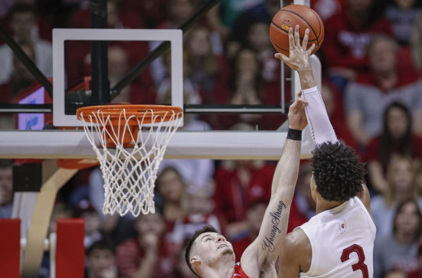 BLOOMINGTON, IN - JANUARY 11: Justin Smith #3 of the Indiana Hoosiers shoots the ball against Kyle Young #25 of the Ohio State Buckeyes during the second half at Assembly Hall on January 11, 2020 in Bloomington, Indiana. (Photo by Michael Hickey/Getty Images)
