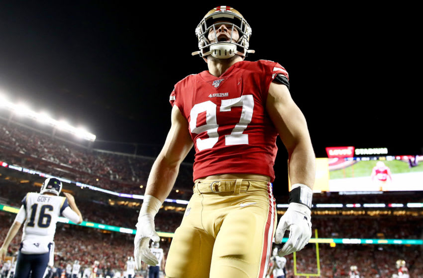 SANTA CLARA, CALIFORNIA - DECEMBER 21: Defensive end Nick Bosa #97 of the San Francisco 49ers celebrates an incomplete pass in the end zone after pressuring quarterback Jared Goff #16 of the Los Angeles Rams at Levi's Stadium on December 21, 2019 in Santa Clara, California. (Photo by Ezra Shaw/Getty Images)