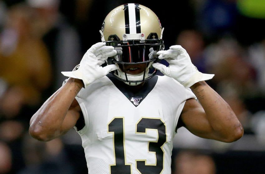 NEW ORLEANS, LOUISIANA - JANUARY 05: Michael Thomas #13 of the New Orleans Saints warms up during the NFC Wild Card Playoff game against the Minnesota Vikings at Mercedes Benz Superdome on January 05, 2020 in New Orleans, Louisiana. (Photo by Sean Gardner/Getty Images)