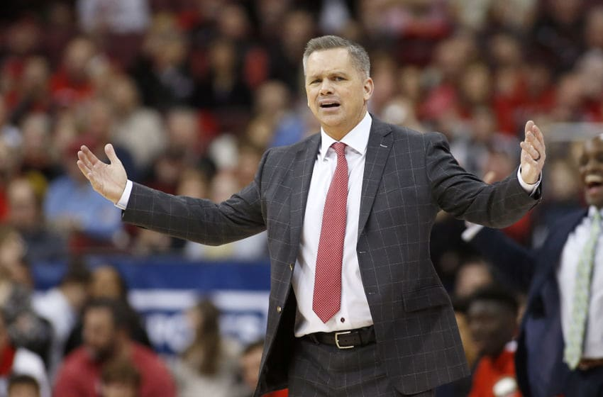COLUMBUS, OHIO - FEBRUARY 23: Head coach Chris Holtmann of the Ohio State Buckeyes reacts to a play in the game against the Maryland Terrapins at Value City Arena on February 23, 2020 in Columbus, Ohio. (Photo by Justin Casterline/Getty Images)