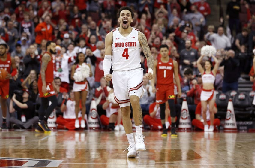 COLUMBUS, OHIO - FEBRUARY 23: Duane Washington Jr. #4 of the Ohio State Buckeyes celebrates after a play in the game against the Maryland Terrapins at Value City Arena on February 23, 2020 in Columbus, Ohio. (Photo by Justin Casterline/Getty Images)