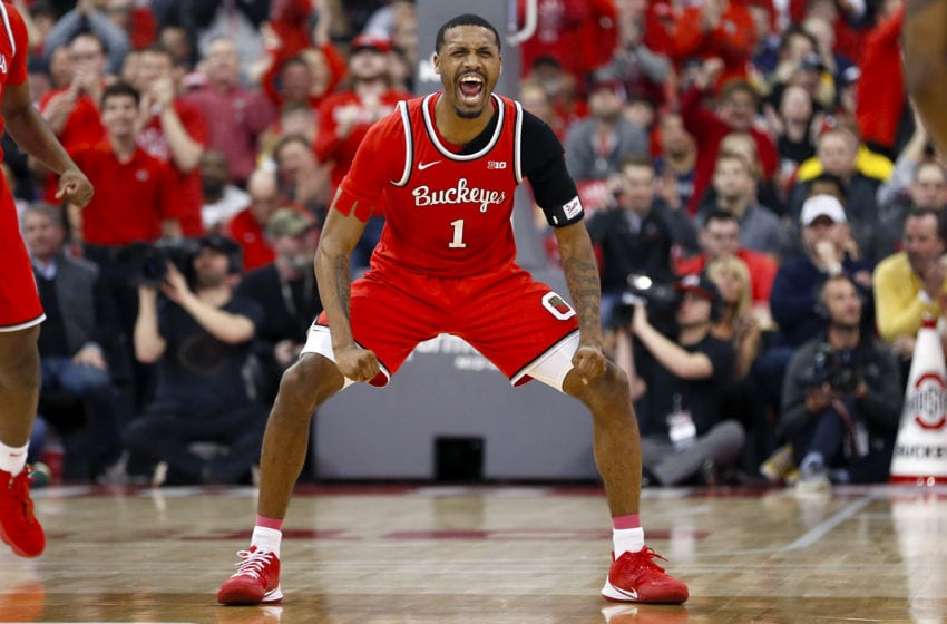 COLUMBUS, OHIO - MARCH 01: Luther Muhammad #1 of the Ohio State Buckeyes celebrates after a play in the game against the Michigan Wolverines during the second half at Value City Arena on March 01, 2020 in Columbus, Ohio. (Photo by Justin Casterline/Getty Images)