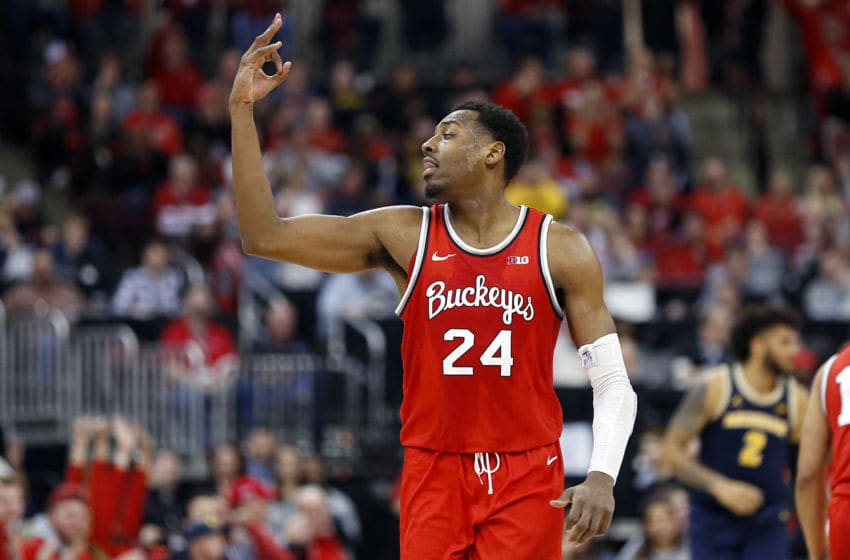COLUMBUS, OHIO - MARCH 01: Andre Wesson #24 of the Ohio State Buckeyes celebrates after making a 3 point shot in the game against the Michigan Wolverines during the second half at Value City Arena on March 01, 2020 in Columbus, Ohio. (Photo by Justin Casterline/Getty Images)