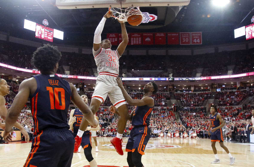 COLUMBUS, OHIO - MARCH 05: E.J. Liddell #32 of the Ohio State Buckeyes dunks the ball in the game against the Illinois Fighting Illini during the first half at Value City Arena on March 05, 2020 in Columbus, Ohio. (Photo by Justin Casterline/Getty Images)