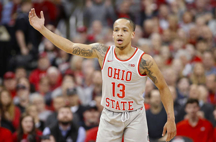 COLUMBUS, OHIO - MARCH 05: CJ Walker #13 of the Ohio State Buckeyes waves to the crowd in the game against the Illinois Fighting Illini during the second half at Value City Arena on March 05, 2020 in Columbus, Ohio. (Photo by Justin Casterline/Getty Images)