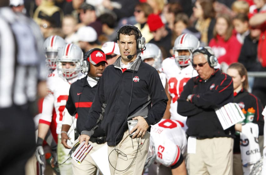 WEST LAFAYETTE, IN - NOVEMBER 12: Ohio State Buckeyes head coach Luke Fickell looks on against the Purdue Boilermakers at Ross-Ade Stadium on November 12, 2011 in West Lafayette, Indiana. Purdue defeated Ohio State 26-23 in overtime. (Photo by Joe Robbins/Getty Images)