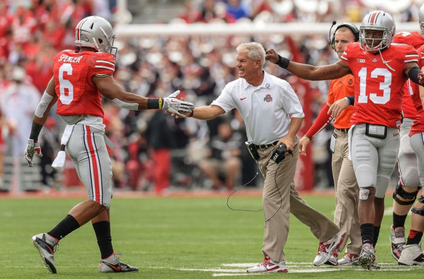COLUMBUS, OH - SEPTEMBER 21: Assistant Coach Kerry Coombs of the Ohio State Buckeyes celebrates with his players during a game against the Florida A&M Rattlers at Ohio Stadium on September 21, 2013 in Columbus, Ohio. (Photo by Jamie Sabau/Getty Images)