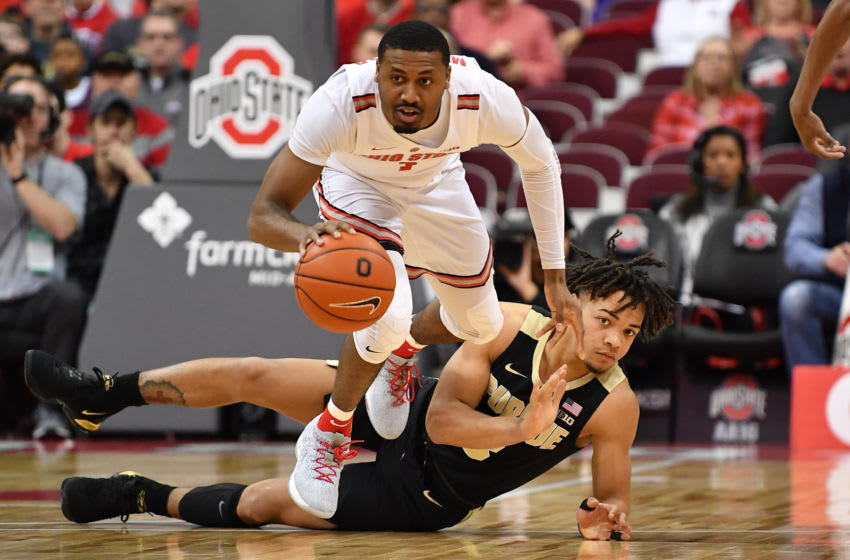 COLUMBUS, OH - JANUARY 23: Luther Muhammad #1 of the Ohio State Buckeyes heads up court after taking the ball away from Carsen Edwards #3 of the Purdue Boilermakers in the first half on January 23, 2019 at Value City Arena in Columbus, Ohio. (Photo by Jamie Sabau/Getty Images)