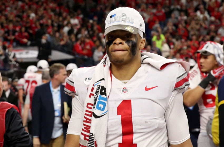 INDIANAPOLIS, INDIANA - DECEMBER 07: Justin Fields #01 of the Ohio State Buckeyes on the field after winning the Big Ten Championship game over the Wisconsin Badgers at Lucas Oil Stadium on December 07, 2019 in Indianapolis, Indiana. (Photo by Justin Casterline/Getty Images)