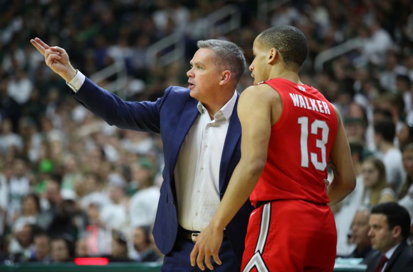 EAST LANSING, MICHIGAN - MARCH 08: Head coach Chris Holtmann of the Ohio State Buckeyes talks to CJ Walker #13 while playing the Michigan State Spartans at the Breslin Center on March 08, 2020 in East Lansing, Michigan. (Photo by Gregory Shamus/Getty Images)