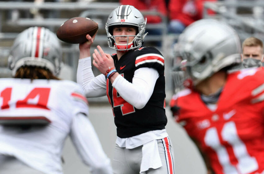 COLUMBUS, OH - APRIL 17: Quarterback Kyle McCord #14 of the Ohio State Buckeyes in action during the Spring Game at Ohio Stadium on April 17, 2021 in Columbus, Ohio. (Photo by Jamie Sabau/Getty Images)