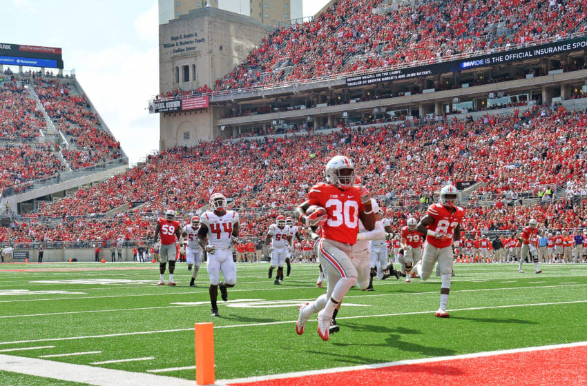 COLUMBUS, OH - OCTOBER 1: Demario McCall #30 of the Ohio State Buckeyes scores on a 20-yard touchdown run in the third quarter against the Rutgers Scarlet Knights at Ohio Stadium on October 1, 2016 in Columbus, Ohio. Ohio State defeated Rutgers 58-0. (Photo by Jamie Sabau/Getty Images)