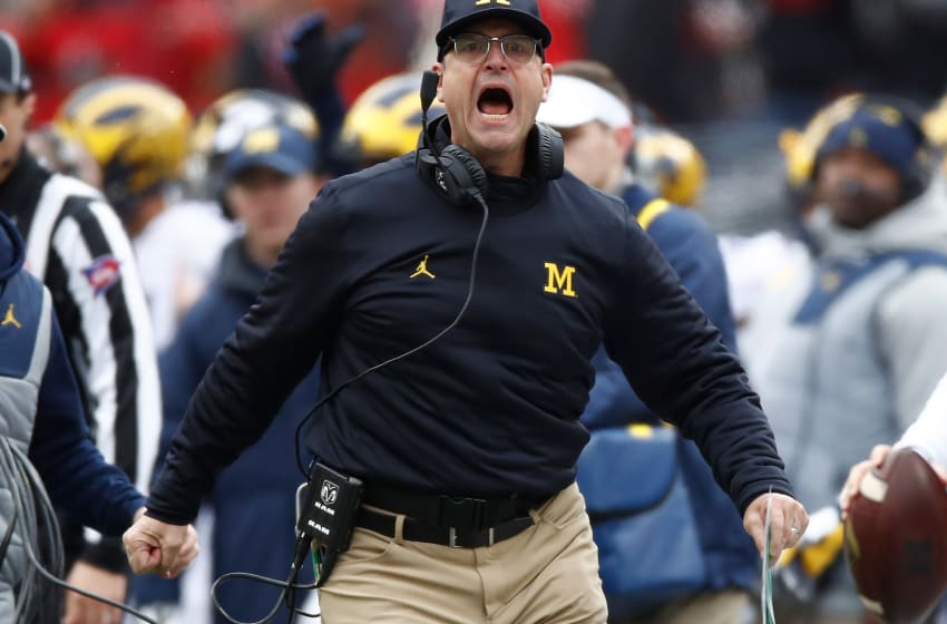 COLUMBUS, OH - NOVEMBER 26: Head coach Jim Harbaugh of the Michigan Wolverines argues a call on the sideline during the first half against the Ohio State Buckeyes at Ohio Stadium on November 26, 2016 in Columbus, Ohio. (Photo by Gregory Shamus/Getty Images)