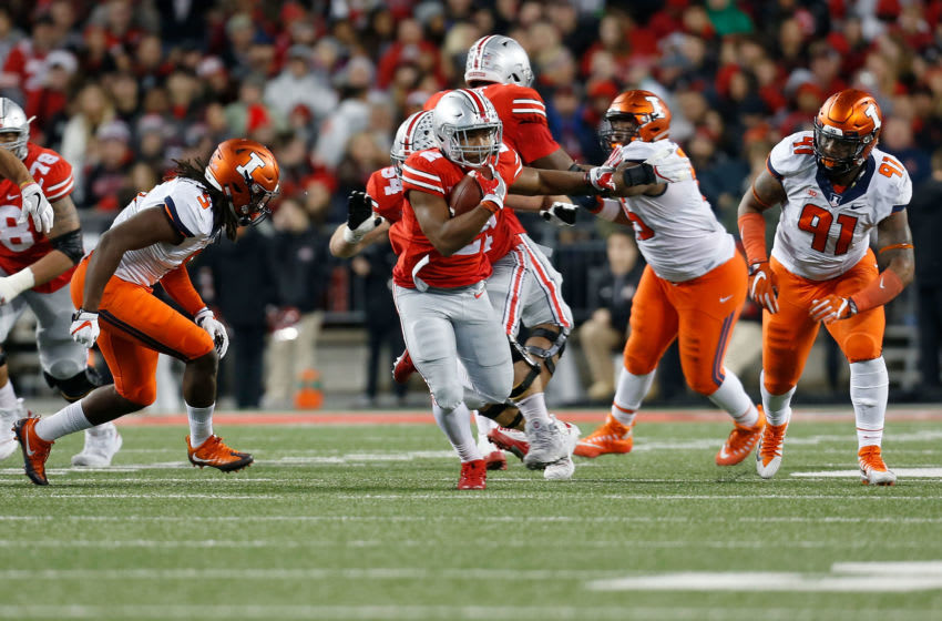 COLUMBUS, OH - NOVEMBER 18: J.K. Dobbins #2 of the Ohio State Buckeyes carries the ball during the game against the Illinois Fighting Illini on November 18, 2017 at Ohio Stadium in Columbus, Ohio. Ohio State defeated Illinois 52-14. (Photo by Kirk Irwin/Getty Images)