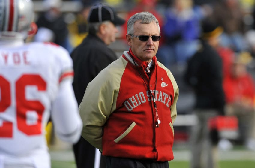 IOWA CITY, IA - NOVEMBER 20: Ohio State Buckeyes head coach Jim Tressel looks on from the sidelines during pre game warm ups at the University of Iowa Hawkeyes NCAA football game at Kinnick Stadium on November 20, 2010 in Iowa City, Iowa. Ohio State won 20-17 over Iowa. (Photo by David Purdy/Getty Images)