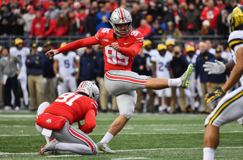 COLUMBUS, OH - NOVEMBER 24: Blake Haubeil #95 of the Ohio State Buckeyes kicks an extra point against the Michigan Wolverines at Ohio Stadium on November 24, 2018 in Columbus, Ohio. Ohio State defeated Michigan 62-39. (Photo by Jamie Sabau/Getty Images)