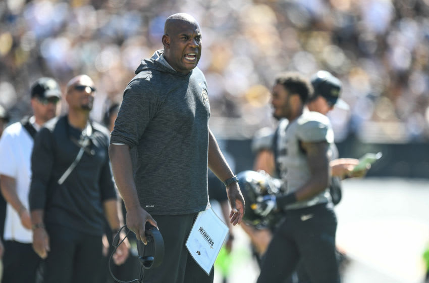 BOULDER, CO - SEPTEMBER 14: Head coach Mel Tucker of the Colorado Buffaloes yells from the sideline in the fourth quarter of a game against the Air Force Falcons at Folsom Field on September 14, 2019 in Boulder, Colorado. (Photo by Dustin Bradford/Getty Images)