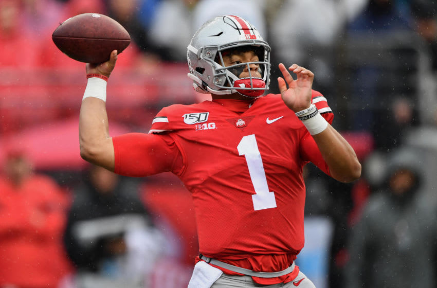 COLUMBUS, OH - OCTOBER 26: Justin Fields #1 of the Ohio State Buckeyes passes in the first quarter against the Wisconsin Badgers at Ohio Stadium on October 26, 2019 in Columbus, Ohio. (Photo by Jamie Sabau/Getty Images)