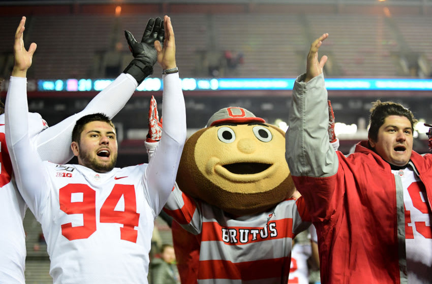 PISCATAWAY, NEW JERSEY - NOVEMBER 16: Ohio State Buckeyes sing their alma mater song following their 56-21 win over the Rutgers Scarlet Knights at SHI Stadium on November 16, 2019 in Piscataway, New Jersey. (Photo by Emilee Chinn/Getty Images)