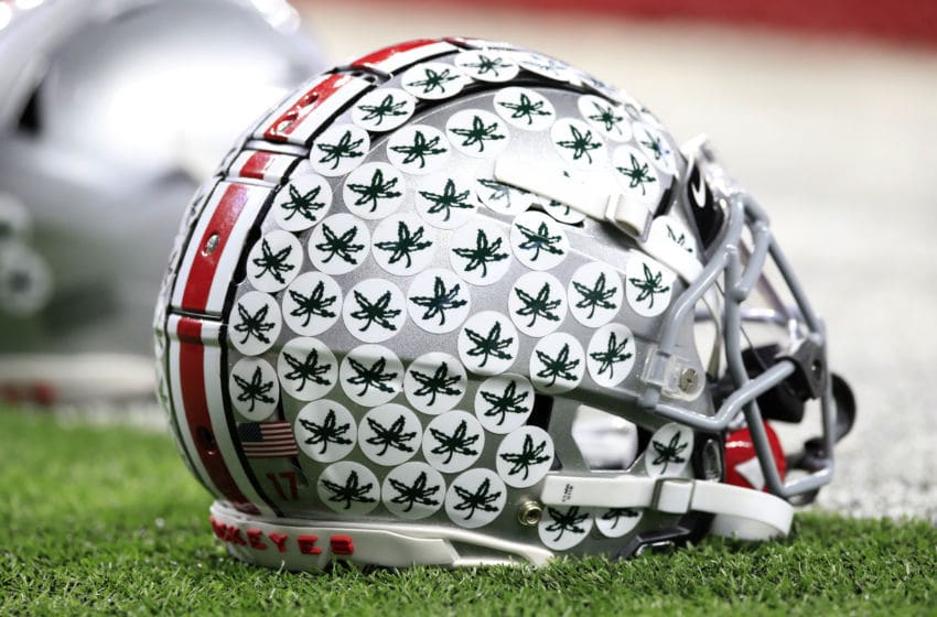 INDIANAPOLIS, INDIANA - DECEMBER 07: Ohio State Buckeyes football helmet before the BIG Ten Football Championship Game against the Wisconsin Badgers at Lucas Oil Stadium on December 07, 2019 in Indianapolis, Indiana. (Photo by Andy Lyons/Getty Images)