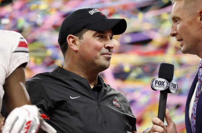 INDIANAPOLIS, INDIANA - DECEMBER 07: Head coach Ryan Day of the Ohio State Buckeyes talks during the post game awards in the Big Ten Championship game against the Wisconsin Badgers at Lucas Oil Stadium on December 07, 2019 in Indianapolis, Indiana. (Photo by Justin Casterline/Getty Images)