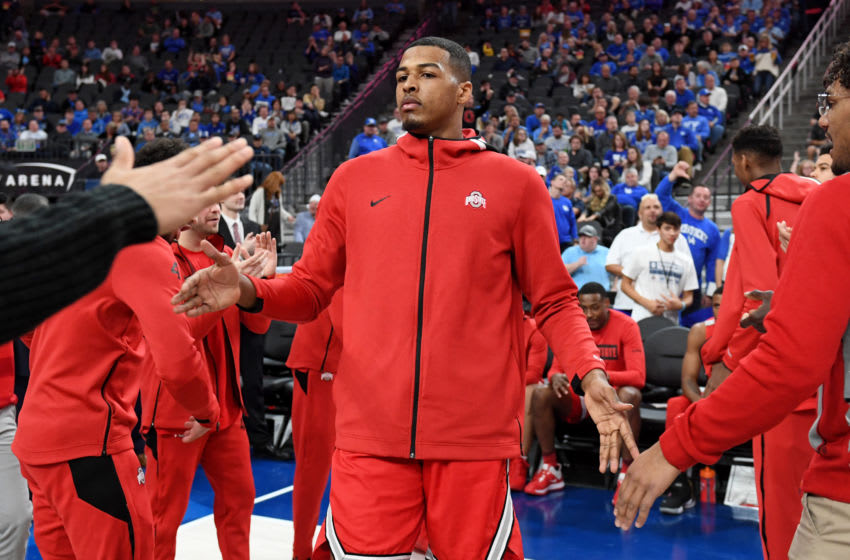 LAS VEGAS, NEVADA - DECEMBER 21: Kaleb Wesson #34 of the Ohio State Buckeyes is introduced before a game against the Kentucky Wildcats during the CBS Sports Classic at T-Mobile Arena on December 21, 2019 in Las Vegas, Nevada. The Buckeyes defeated the Wildcats 71-65. (Photo by Ethan Miller/Getty Images)