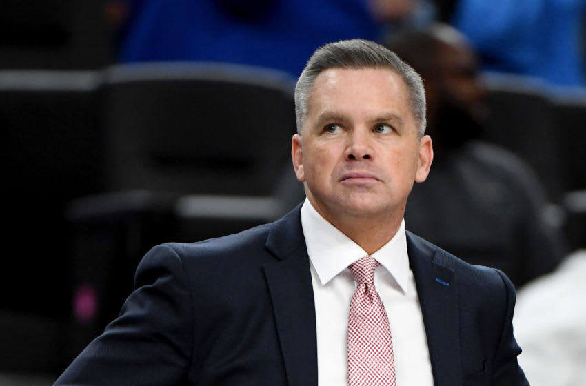 LAS VEGAS, NEVADA - DECEMBER 21: Head coach Chris Holtmann of the Ohio State Buckeyes looks on as his team takes on the Kentucky Wildcats during the CBS Sports Classic at T-Mobile Arena on December 21, 2019 in Las Vegas, Nevada. The Buckeyes defeated the Wildcats 71-65. (Photo by Ethan Miller/Getty Images)