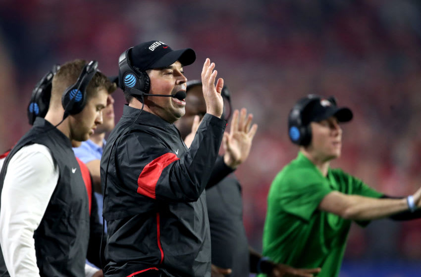 GLENDALE, ARIZONA - DECEMBER 28: Head coach Ryan Day of the Ohio State Buckeyes looks on against the Clemson Tigers in the first half during the College Football Playoff Semifinal at the PlayStation Fiesta Bowl at State Farm Stadium on December 28, 2019 in Glendale, Arizona. (Photo by Christian Petersen/Getty Images)