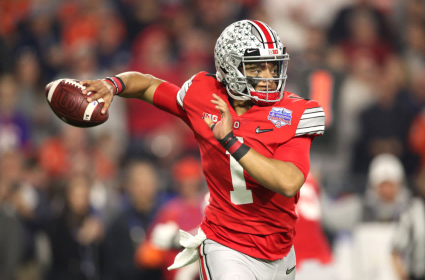 GLENDALE, ARIZONA - DECEMBER 28: Justin Fields #1 of the Ohio State Buckeyes looks to pass the ball against the Clemson Tigers in the first half during the College Football Playoff Semifinal at the PlayStation Fiesta Bowl at State Farm Stadium on December 28, 2019 in Glendale, Arizona. (Photo by Christian Petersen/Getty Images)