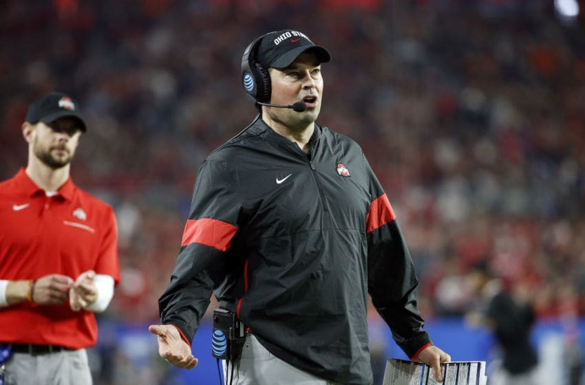 GLENDALE, ARIZONA - DECEMBER 28: Head coach Ryan Day of the Ohio State Buckeyes reacts against the Clemson Tigers in the second half during the College Football Playoff Semifinal at the PlayStation Fiesta Bowl at State Farm Stadium on December 28, 2019 in Glendale, Arizona. (Photo by Ralph Freso/Getty Images)
