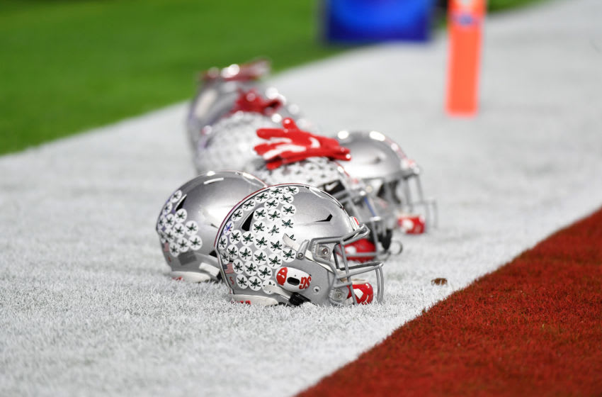 GLENDALE, ARIZONA - DECEMBER 28: A detail of Ohio State Buckeyes helmets prior to a game against the Clemson Tigers during the Playstation Fiesta Bowl at State Farm Stadium on December 28, 2019 in Glendale, Arizona. (Photo by Norm Hall/Getty Images)