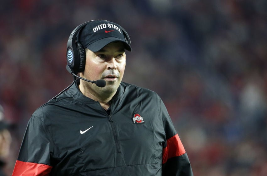 GLENDALE, ARIZONA - DECEMBER 28: Head coach Ryan Day of the Ohio State Buckeyes during the second half of the College Football Playoff Semifinal against the Clemson Tigers at the PlayStation Fiesta Bowl at State Farm Stadium on December 28, 2019 in Glendale, Arizona. (Photo by Ralph Freso/Getty Images)