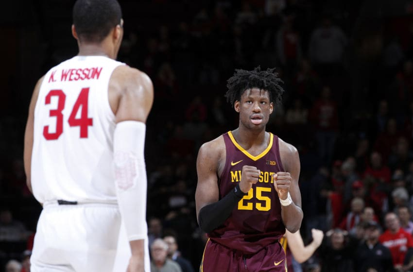 COLUMBUS, OH - JANUARY 23: Daniel Oturu #25 of the Minnesota Golden Gophers reacts at the end of the game against the Ohio State Buckeyes at Value City Arena on January 23, 2020 in Columbus, Ohio. Minnesota defeated Ohio State 62-59 (Photo by Joe Robbins/Getty Images)