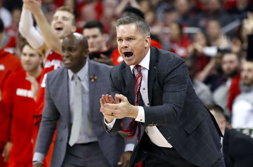 COLUMBUS, OHIO - MARCH 01: Head coach Chris Holtmann of the Ohio State Buckeyes calls out to his team in the game against the Michigan Wolverines during the second half at Value City Arena on March 01, 2020 in Columbus, Ohio. (Photo by Justin Casterline/Getty Images)