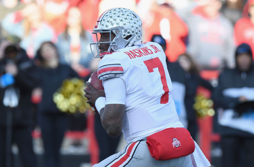 COLLEGE PARK, MD - NOVEMBER 17: Dwayne Haskins #7 of the Ohio State Buckeyes drops back to pass against the Maryland Terrapins at Maryland Stadium on November 17, 2018 in College Park, Maryland. (Photo by G Fiume/Maryland Terrapins/Getty Images)