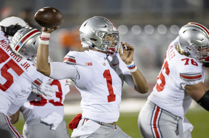 STATE COLLEGE, PA - OCTOBER 31: Justin Fields #1 of the Ohio State Buckeyes looks to pass against the Penn State Nittany Lions during the first half at Beaver Stadium on October 31, 2020 in State College, Pennsylvania. (Photo by Scott Taetsch/Getty Images)