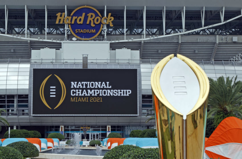 MIAMI GARDENS, FLORIDA - NOVEMBER 11: The College Football Playoff National Championship Trophy is displayed at Hard Rock Stadium on November 11, 2020 in Miami Gardens, Florida. The Championship game will be played at Hard Rock Stadium on January 11, 2021. (Photo by Joel Auerbach/Getty Images)