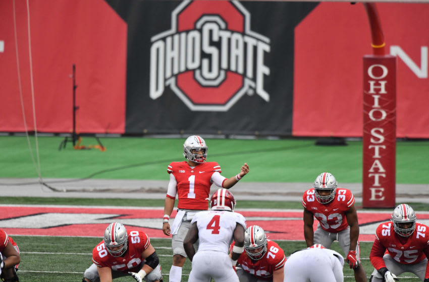 COLUMBUS, OH - NOVEMBER 21: Quarterback Justin Fields #1 of the Ohio State Buckeyes takes the snap against the Indiana Hoosiers at Ohio Stadium on November 21, 2020 in Columbus, Ohio. (Photo by Jamie Sabau/Getty Images)