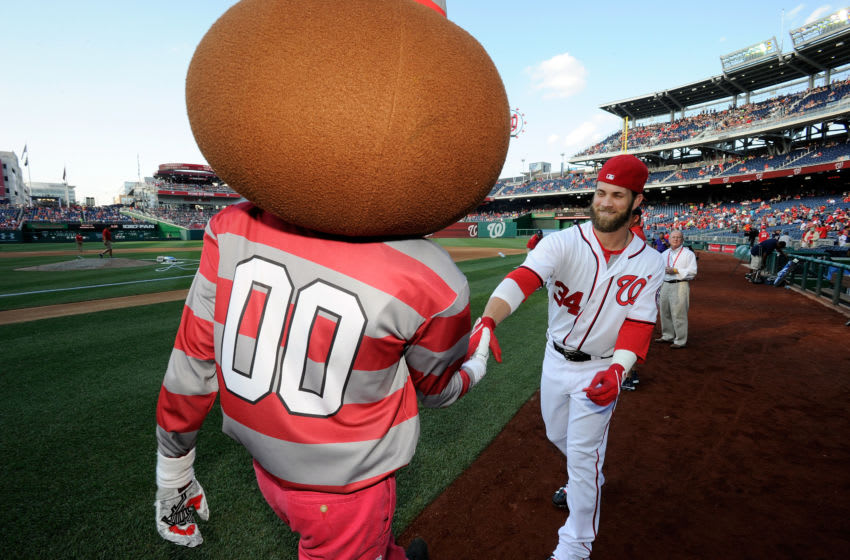 WASHINGTON, DC - JUNE 30: Bryce Harper #34 of the Washington Nationals shakes hands with the Ohio State mascot before the game against the Colorado Rockies at Nationals Park on June 30, 2014 in Washington, DC. (Photo by G Fiume/Getty Images)