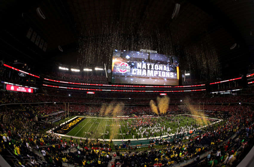 ARLINGTON, TX - JANUARY 12: The Ohio State Buckeyes celebrate after defeating the Oregon Ducks 42 to 20 in the College Football Playoff National Championship Game at AT&T Stadium on January 12, 2015 in Arlington, Texas. (Photo by Sarah Glenn/Getty Images)