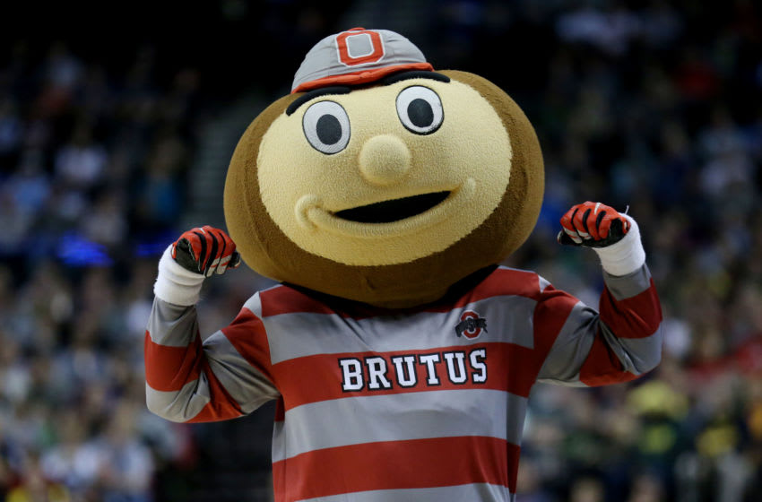 PORTLAND, OR - MARCH 21: Brutus, the mascot for the Ohio State Buckeyes performs in the second half against the Arizona Wildcats during the third round of the 2015 NCAA Men's Basketball Tournament at Moda Center on March 21, 2015 in Portland, Oregon. (Photo by Stephen Dunn/Getty Images)