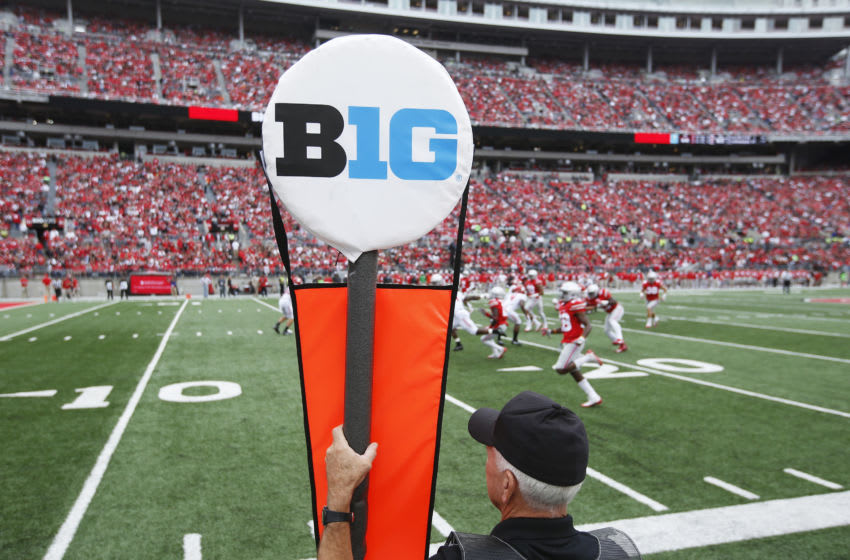 COLUMBUS, OH - OCTOBER 01: General view of the Big Ten logo on a yard marker during the game between the Ohio State Buckeyes and Rutgers Scarlet Knights at Ohio Stadium on October 1, 2016 in Columbus, Ohio. The Buckeyes defeated the Scarlet Knights 58-0. (Photo by Joe Robbins/Getty Images) *** Local Caption ***