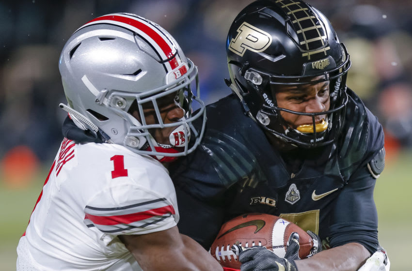 WEST LAFAYETTE, IN - OCTOBER 20: Rondale Moore #4 of the Purdue Boilermakers runs the ball during the game against the Ohio State Buckeyes at Ross-Ade Stadium on October 20, 2018 in West Lafayette, Indiana. (Photo by Michael Hickey/Getty Images)