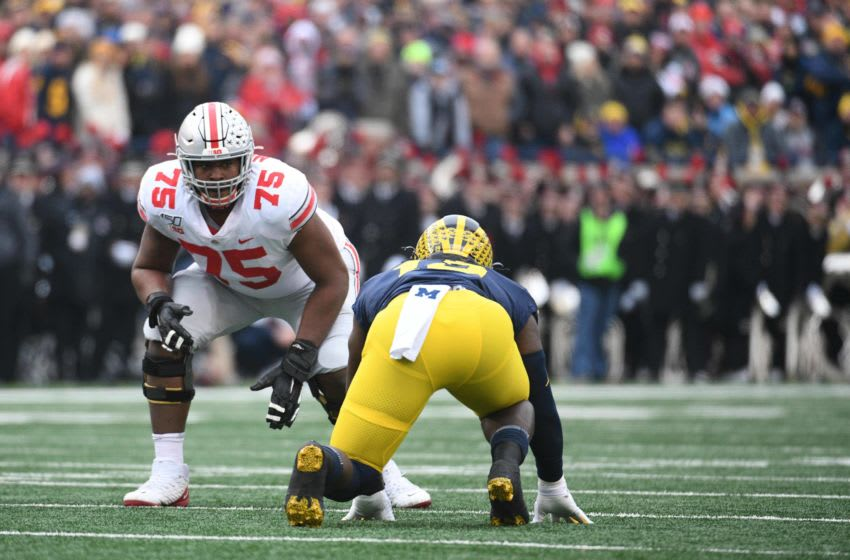 Nov 30, 2019; Ann Arbor, MI, USA; Ohio State Buckeyes offensive lineman Thayer Munford (75) during the game against the Michigan Wolverines at Michigan Stadium. Mandatory Credit: Tim Fuller-USA TODAY Sports