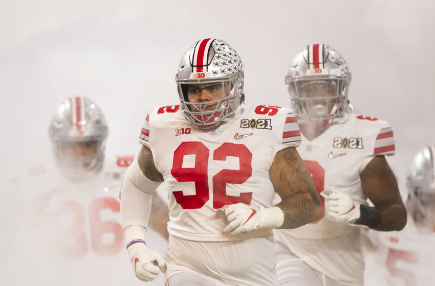 Jan 11, 2021; Miami Gardens, Florida, USA; Ohio State Buckeyes defensive tackle Haskell Garrett (92) against the Alabama Crimson Tide in the 2021 CFP National Championship Game. Mandatory Credit: Mark J. Rebilas-USA TODAY Sports