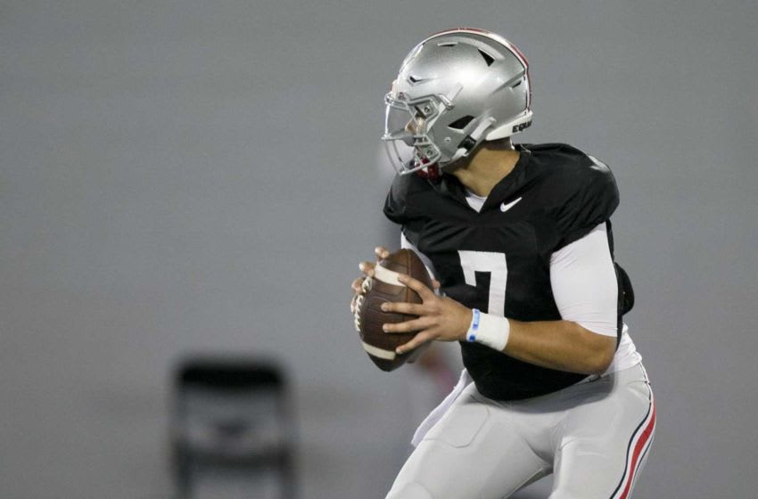 Quarter Back C.J. Stroud, during Ohio State spring football practice, at Woody Hayes Athletic Center, Friday April 2, 2021. 04 Osufb 0403 Clh